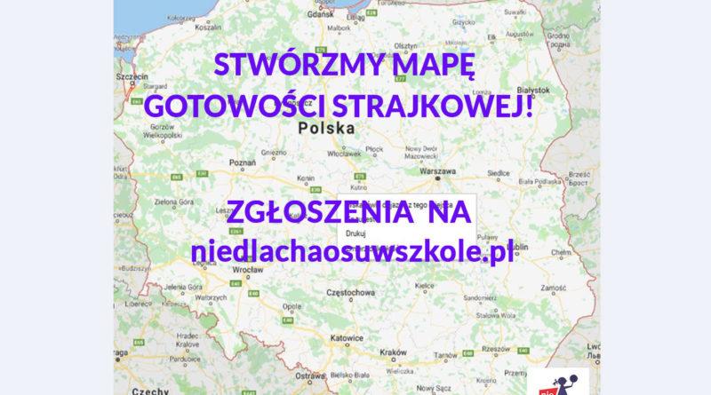 mapa strajk nauczycieli